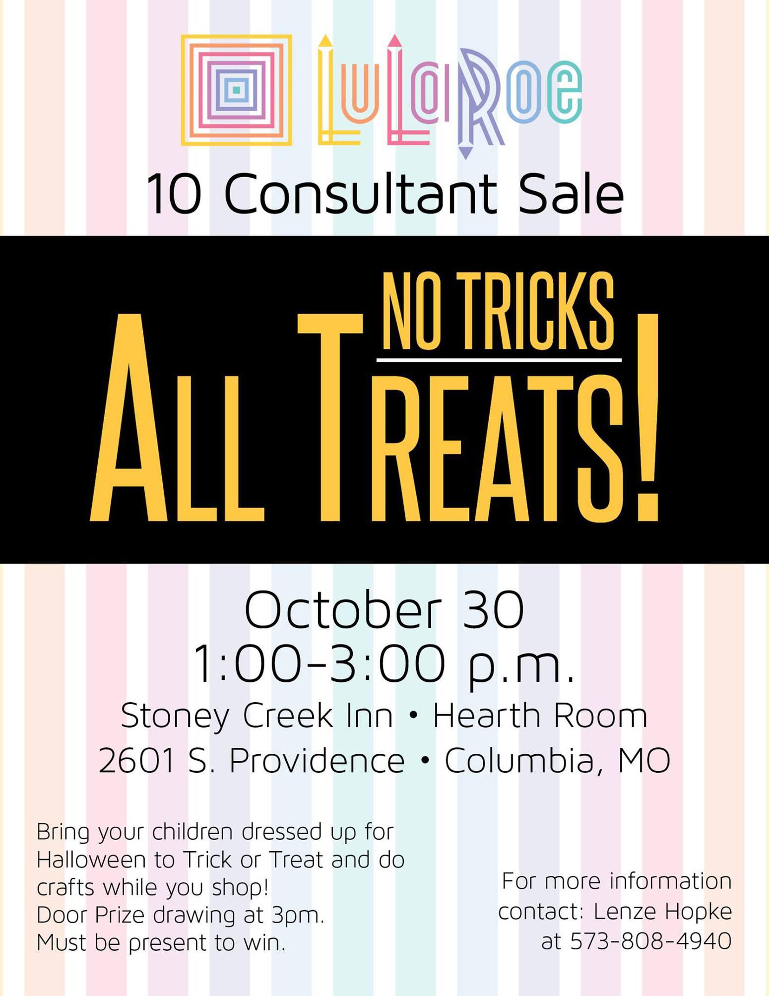 "no tricks, all treats!"" lularoe multi-consultant sale – inside columbia"