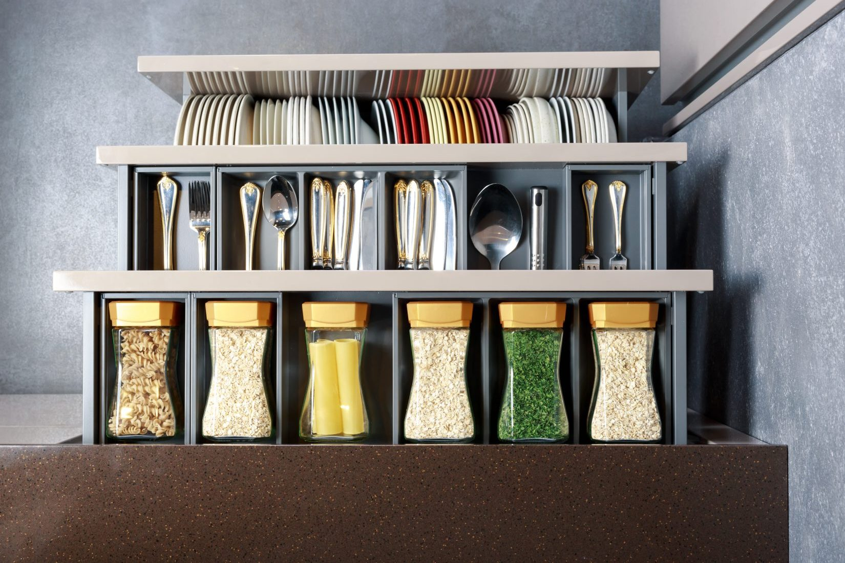 Spices and grains on a modern rack